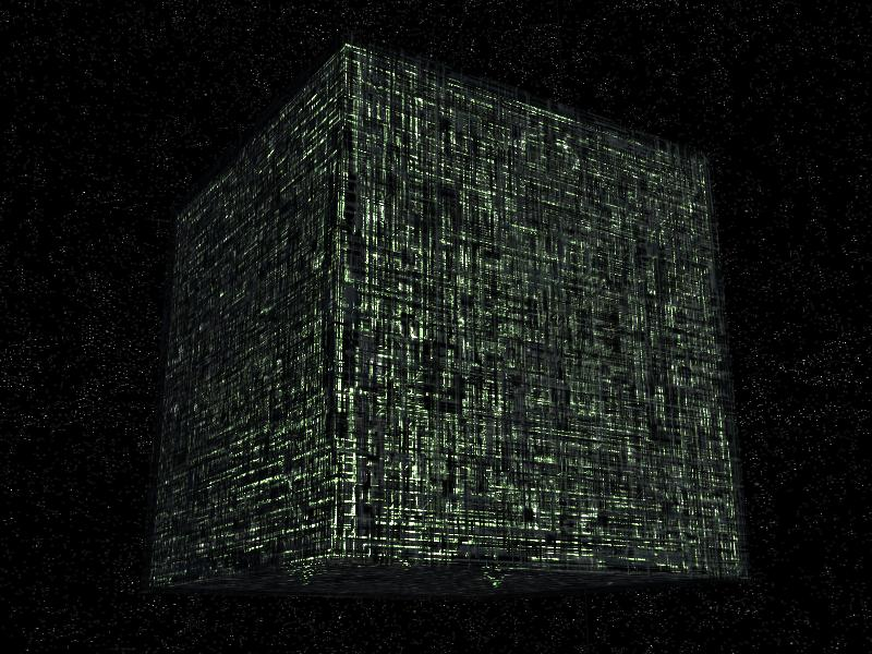 Here is a ship of the Borg: All resistance is futile. As you can see, the ship is a giant cube.