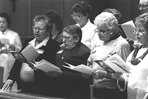 Vespers: People singing the Magnificat