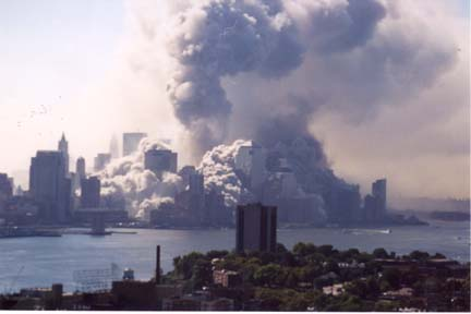 New York immersed in smoke and fire, Sept. 11, 2001
