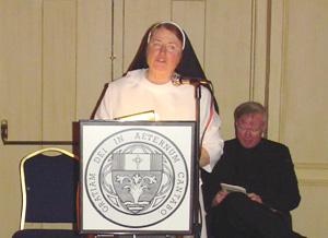 Sister Mary Paul speaks.