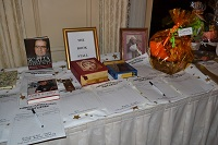 Silent Auction table, with books