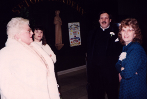 Cinda Moak-Forsyth, Wendy Loggins, Father Joe Cirou, and Joan Termini