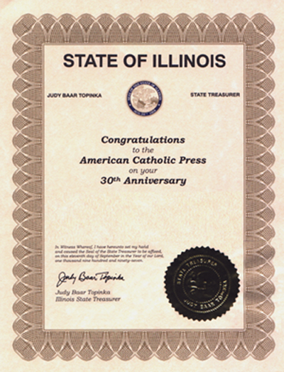 Certificate of Congratulations to ACP from Judy Baar Topinka