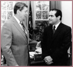 President Ronald Reagan (left) with Justice Antonin Scalia