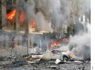 Pentagon on fire, after impact by jetliner