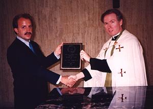 Frank Termini (left) accepts first Gratiam Dei Award