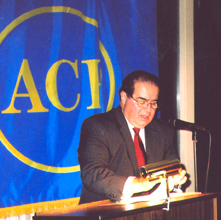 Justice Scalia, delivering his address